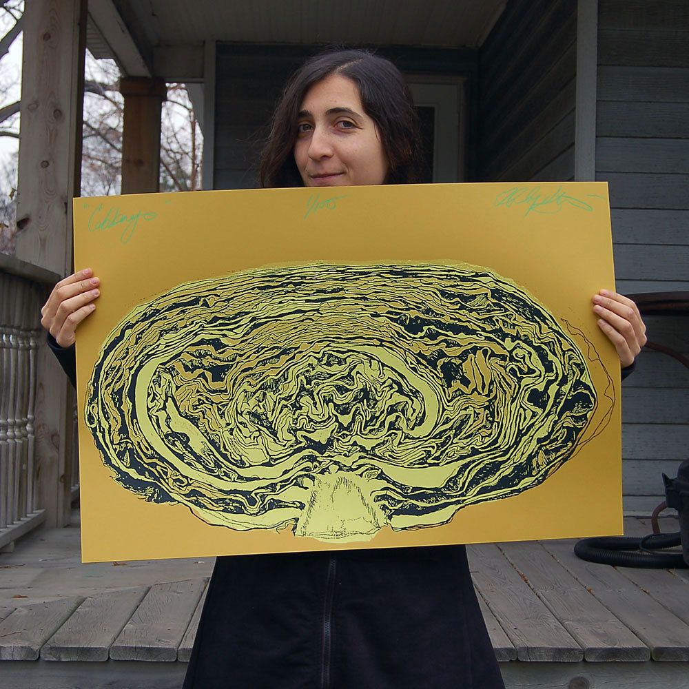 """Cabbage""    2 color silkscreen print - dark grey & butter yellow ink on fuse green French Paper.    Limited edition of 100 prints.   20""x30"",  $35.00"