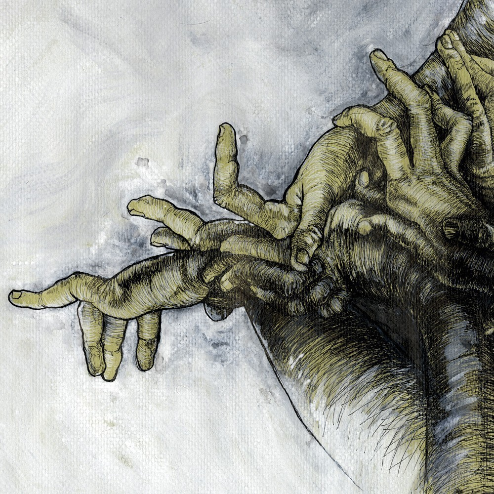 "Detail of  ""Green Hands"",  39""x11"" This poster was made from a   pen and ink wash drawing of studies of my hands.  $15.99"