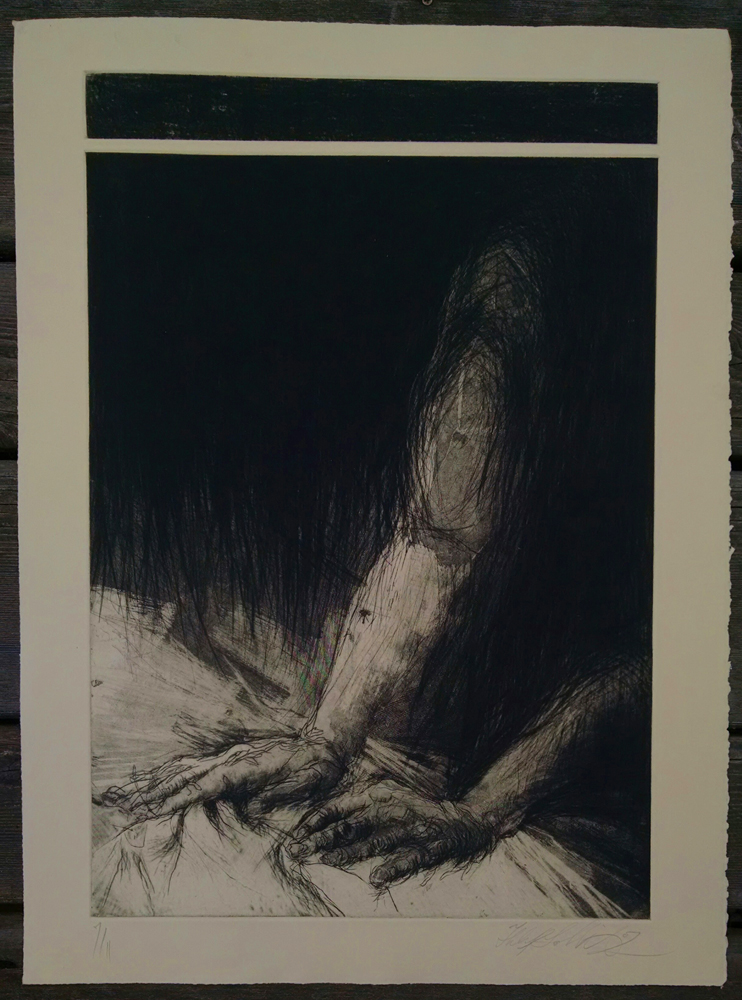 """Massage"", etching, 22"" x 30 "",   $400.00"
