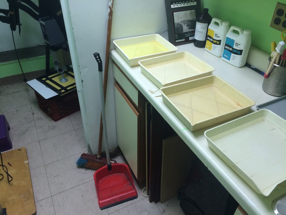 Darkroom: Chemicals mixed, room ready