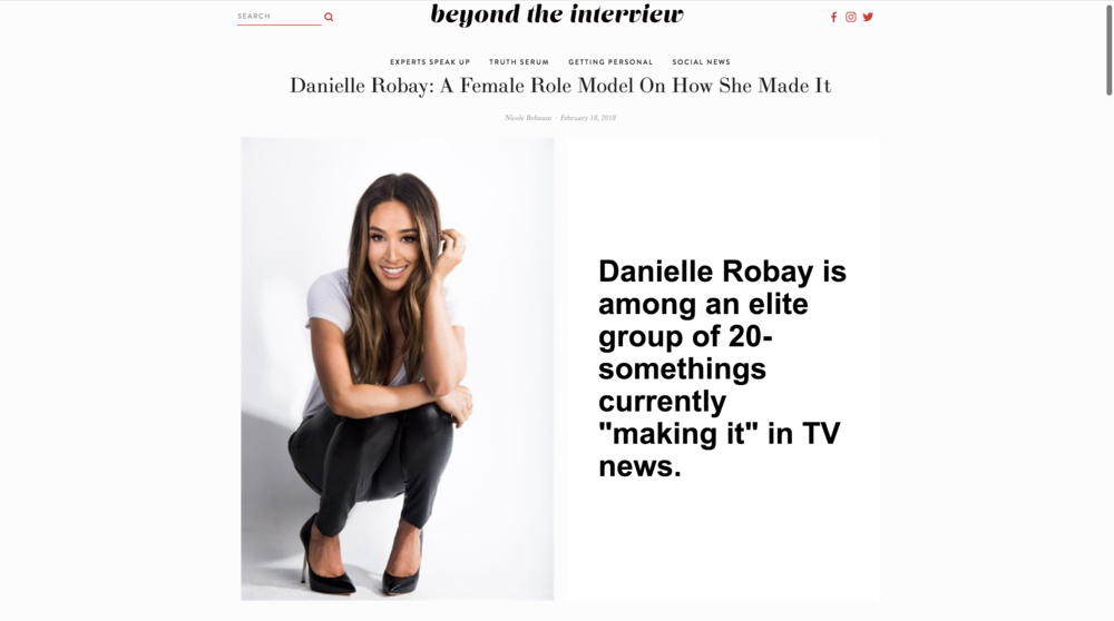 Beyond The Interview  - Danielle Robay: A Female Role Model