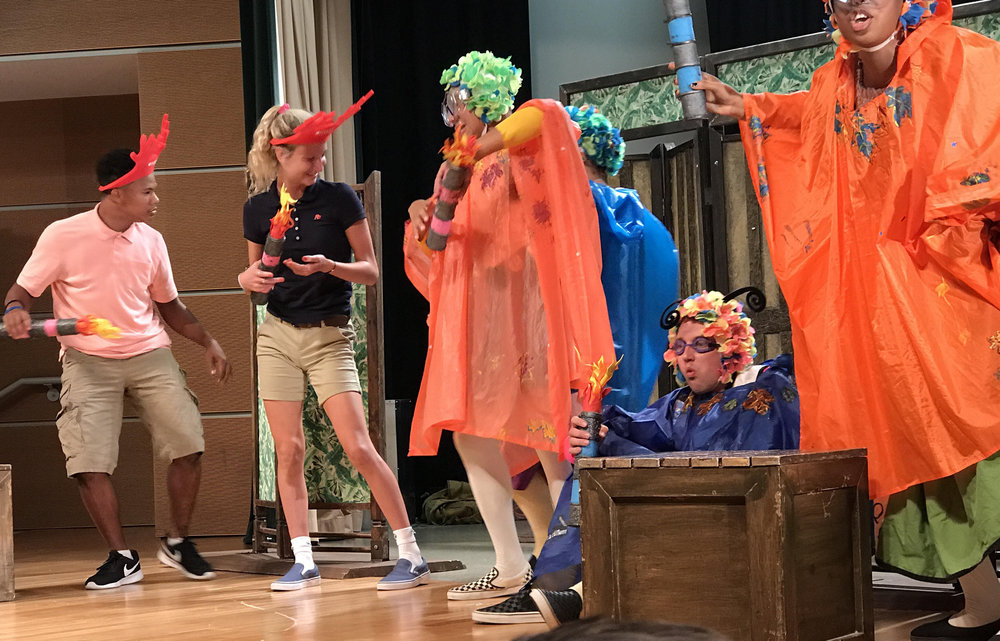 "Sophomore Piper Murphy was chosen for audience participation in the performance, 'The Merry Wives of Windsor."" at Cincinnati State during the field trip."