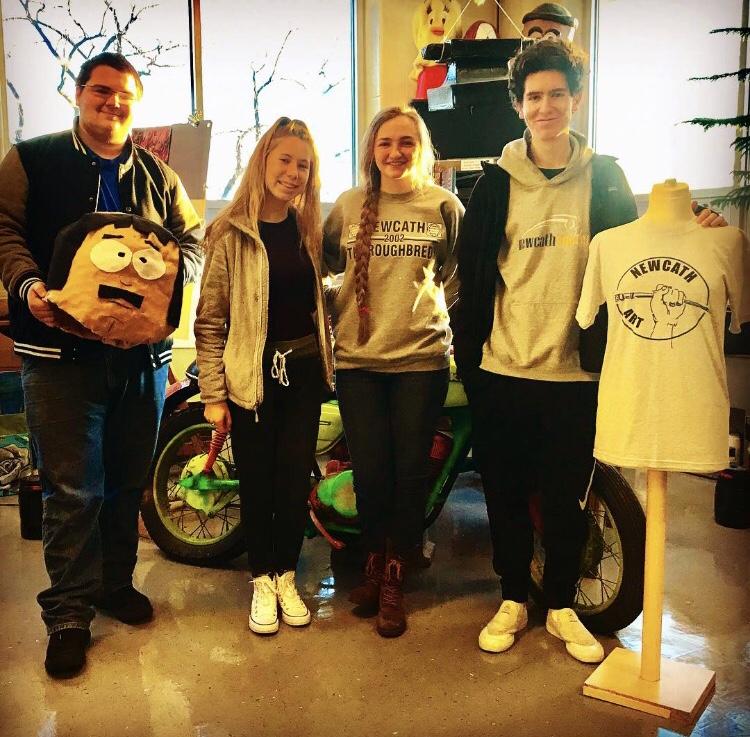 NewCath Art Students Win Scholastic Art Award - Andrew Hansel, Kaitlyn Spangler, Helena Kaelin, Wyatt Guthrie.