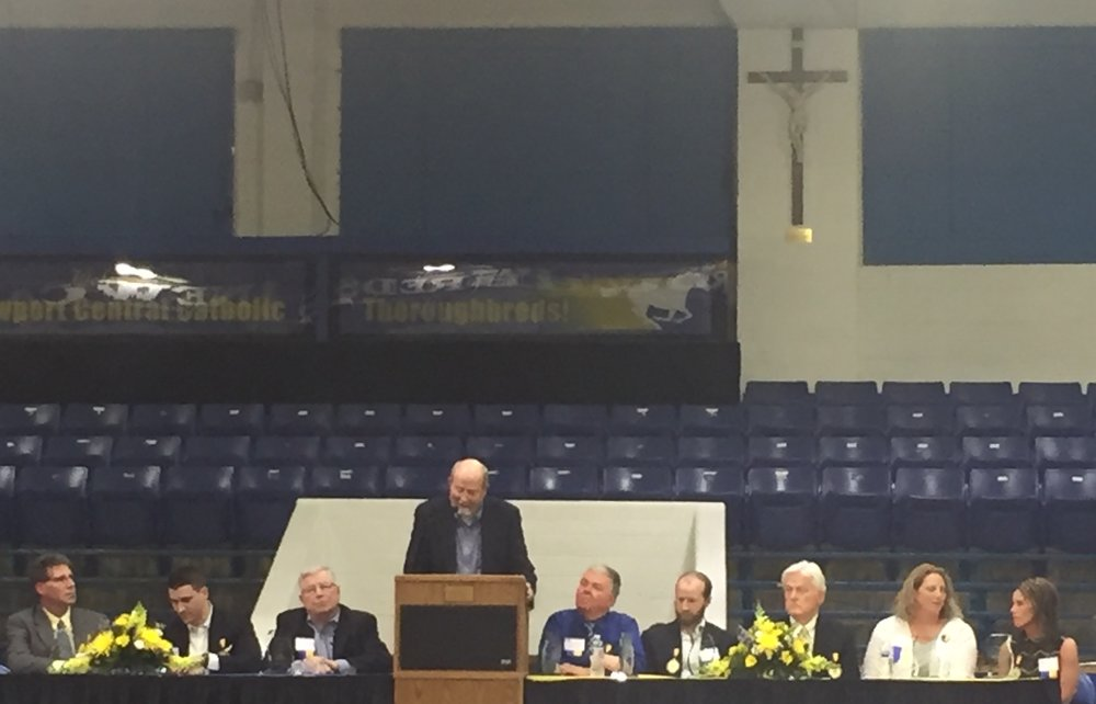 Walter McGaff '37 (posthumously). Nephew, Mr. Cliff Ludwig accepting the award.