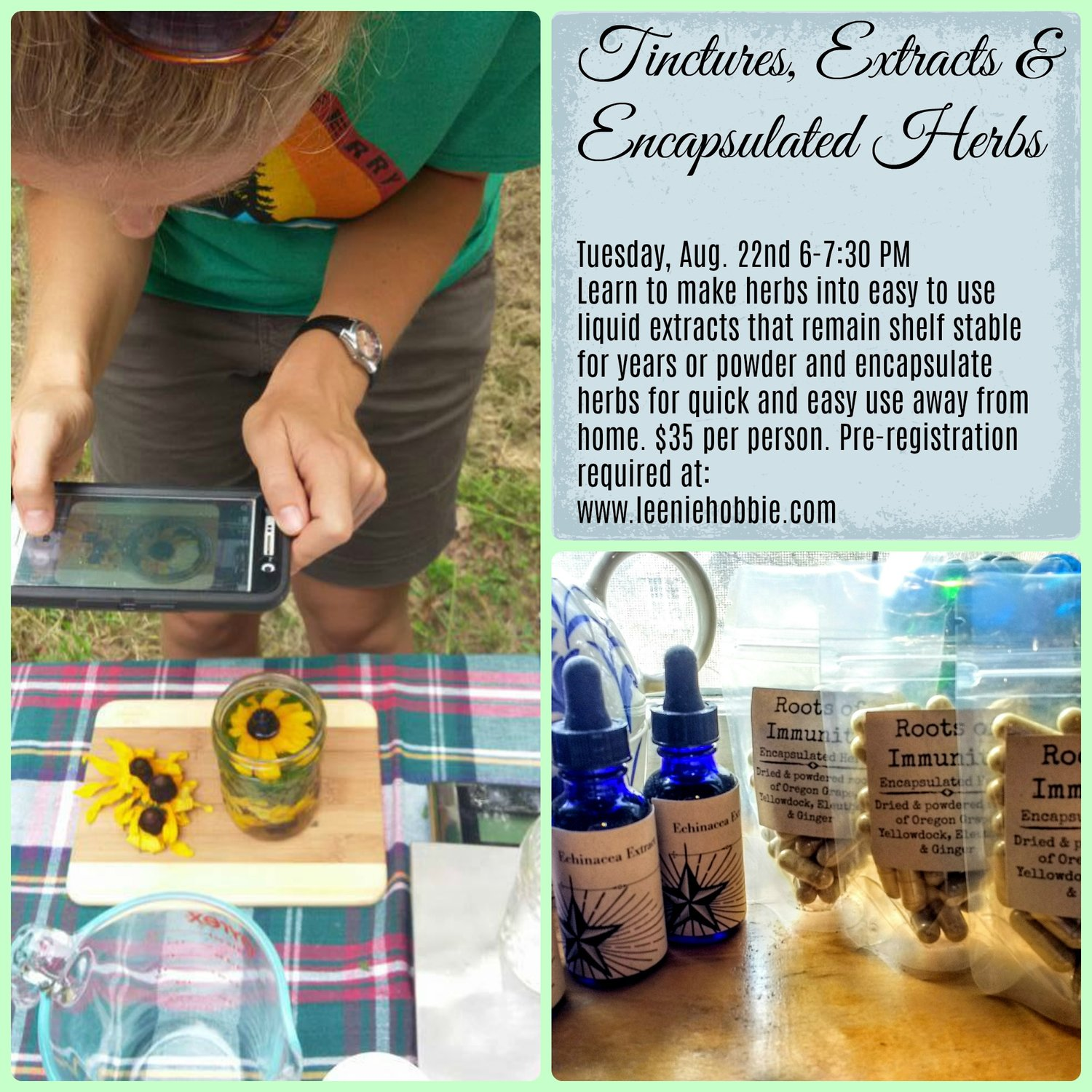 Apothecary Skills Class: Tinctures, Extracts, & Encapsulated