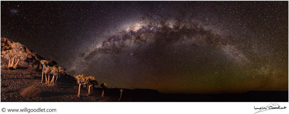 Nightscape panorama, Northern Cape, South Africa. 1 row of 10 images.
