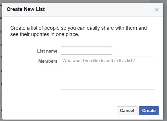 Create Friend List Dialog Box in Facebook