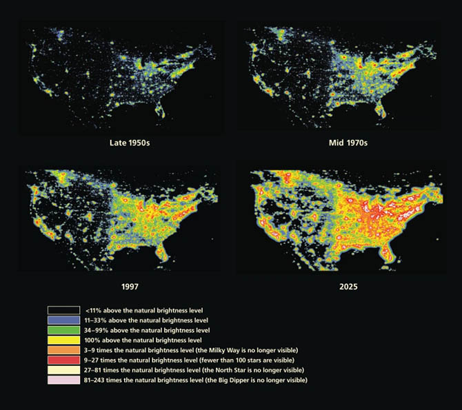 The increase in artificial night sky brightness in North America, including an extrapolated prediction for light pollution levels in 2025. Maps created by P. Cinzano, F. Falchi, and C. D. Elvidge.