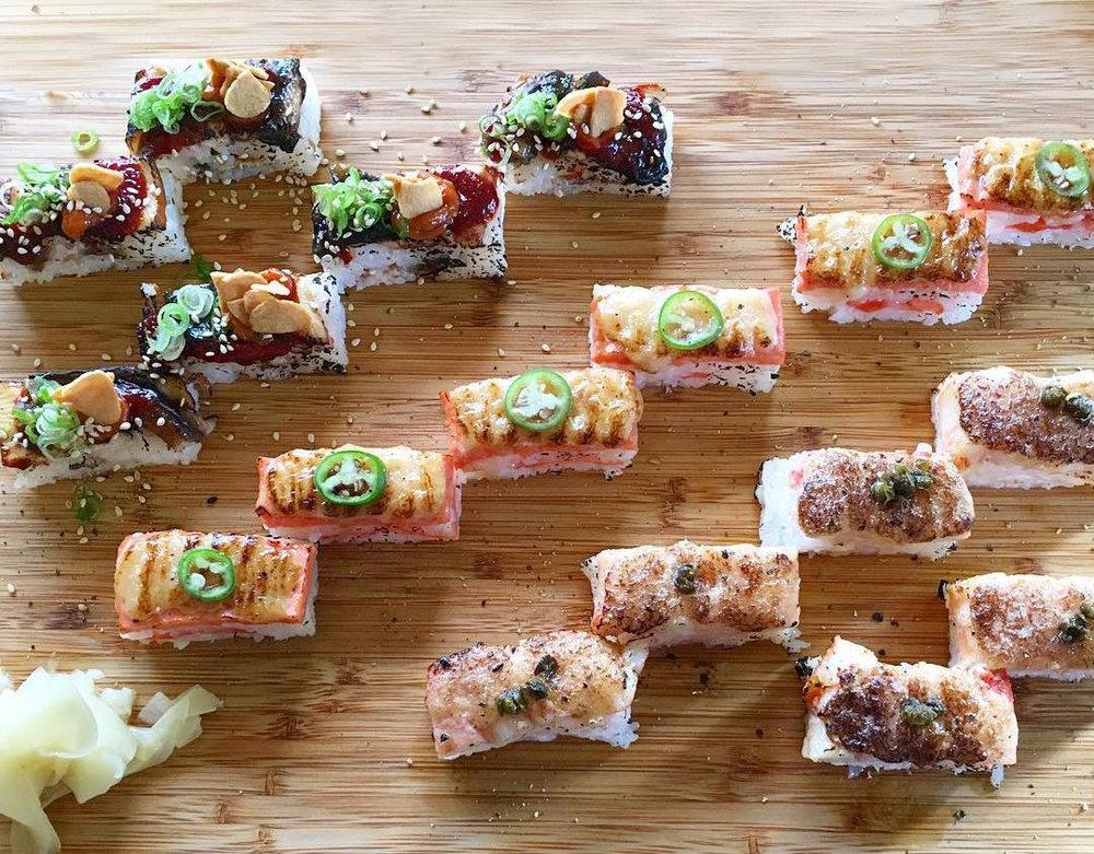 Spicy Unagi Oshi Sushi | Salmon Oshi Sushi | Kani-Ume Oshi Sushi