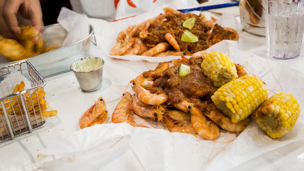 Cajun Fries (Left) | Shrimp & Corn (Right)