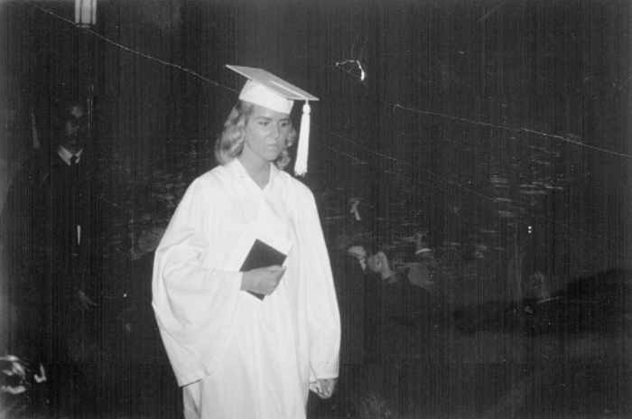 Rita at her high school graduation, 1959