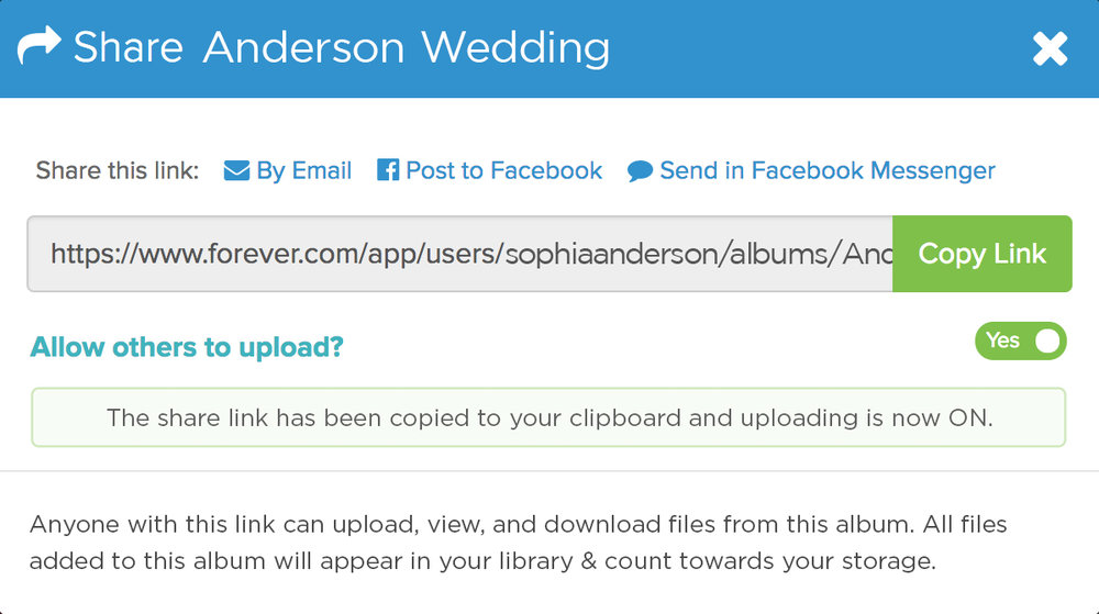 You can make any of your FOREVER Albums collaborative. Learn more  here .