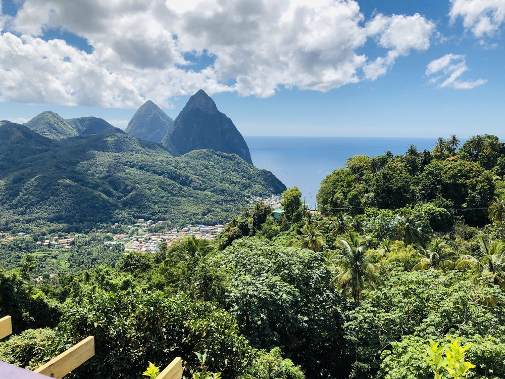 View of mountains and sea near Soufrière, St. Lucia.