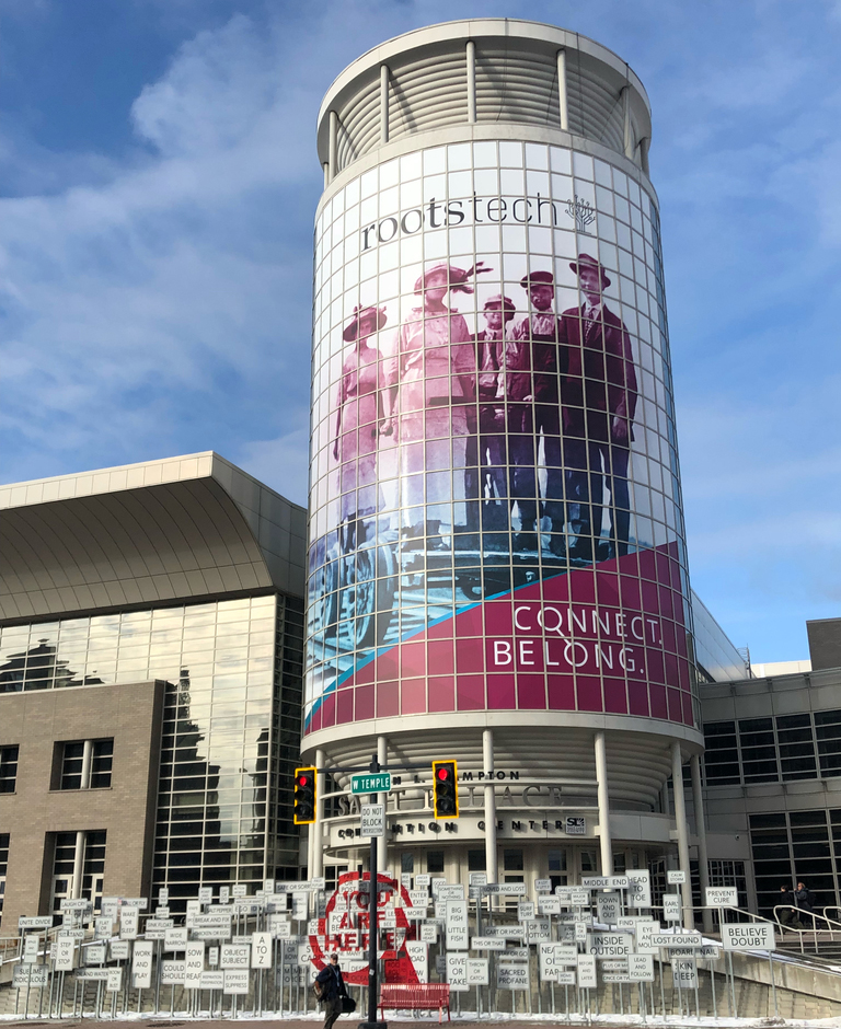 Outside the RootsTech venue in 2018!