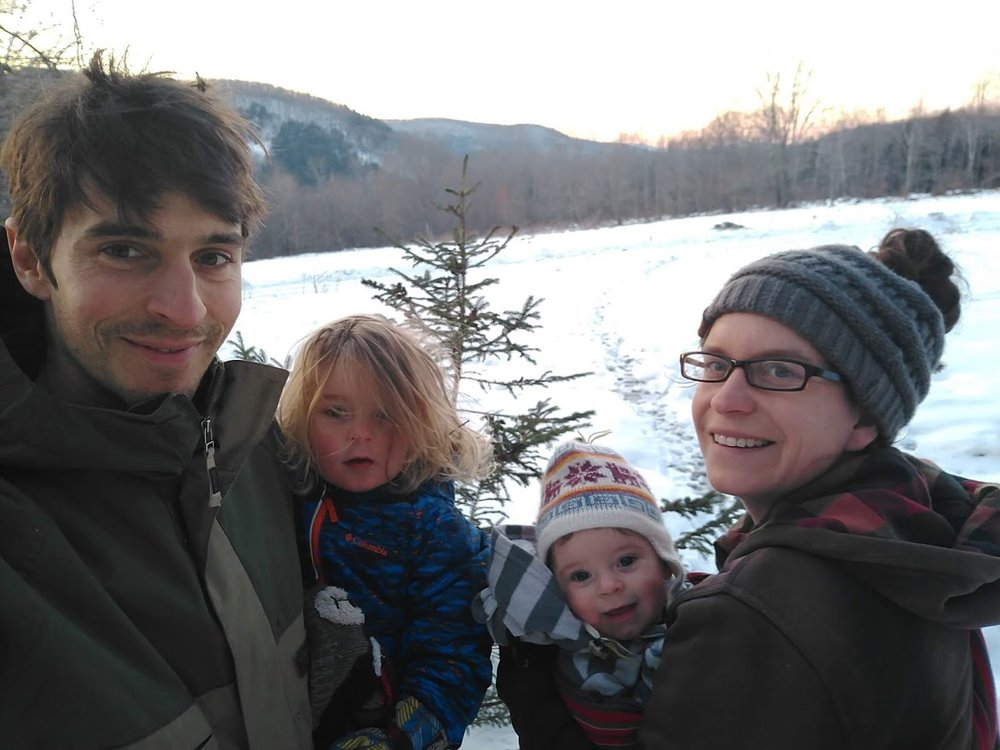 went into the woods to cut our first little Christmas tree as a family of 4, photo by Adam Ford