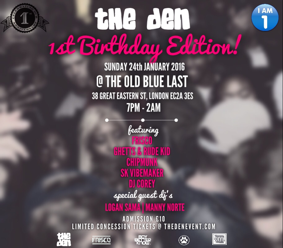 JAN 2016 - THE DEN 1ST BIRTHDAY