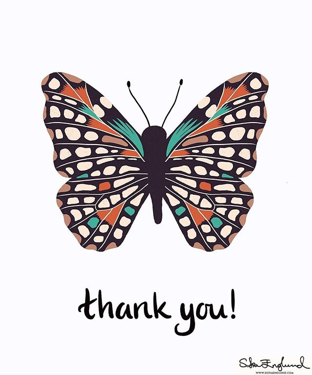 I spotted a really beautiful butterfly on Pinterest and just had to draw it, so this is my stylized version 🦋 I've made it into a thank you card (but it could easily be for birthdays and other occasions) ☺  #design #surfacedesign #surfacedesigner #greetingcard #greetingcarddesign #stationary #thankyoucard #butterfly #womenofillustration #illustratorsofinstagram