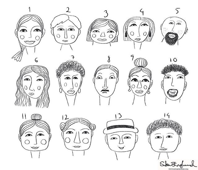 """Continuing with the 'Drawing Faces' class and the """"style mashup"""" module. This was so much fun, mixing and matching various features to create different characters! My favourites are probably number 7 and number 8. They look like they could be a couple as well haha 🙂 Which one is your favourite? . . . #LillasArtRecipes #drawingfaces #makeartthatsells #mats #illustration #illustrations #illustratorsofinstagram #faces #portraits #design #art #procreate #ipadpro #stylemashup #stylizedportrait"""
