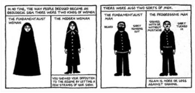 This panel shows how men and women expressed their political beliefs through their clothing and grooming choices.  Image credit:  Persepolis: The Story of a Childhood  by Marjane Satrapi