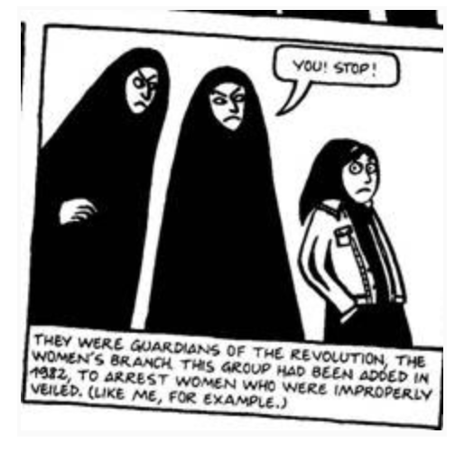 This panel shows how the Islamic regime's laws were enforced, even for children.  Image credit:  Persepolis: The Story of a Childhood  by Marjane Satrapi