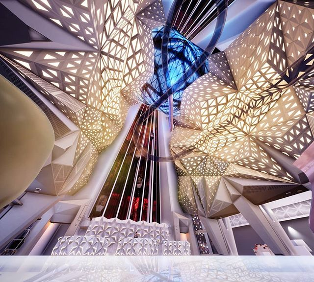 Exploring the Iconic Morpheus Hotel by Zaha Hadid for a playful 360° tour, with its exoskeleton steel frame design, in real time 3D [in collaboration with Malherbe] #3d #3dart #zahahadid #morpheus #vr #virtualreality #360 #architecture #art #artwork #macao #hotel #monochrome
