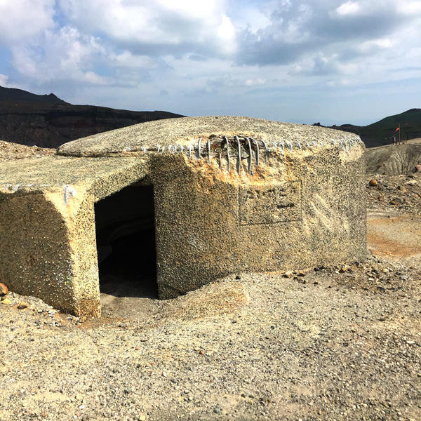 Emergency reinforced concrete shelters that have, worryingly, received a lot of damage.