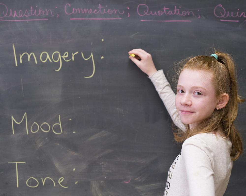 Girl Writing The Words Imagery, Mood and Tone on Chalkboard