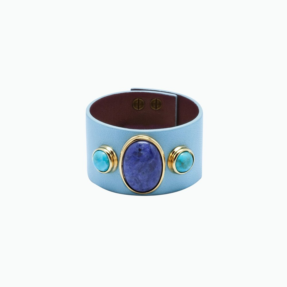 MANCHETTE CUIR, SODALITE & TURQUOISES
