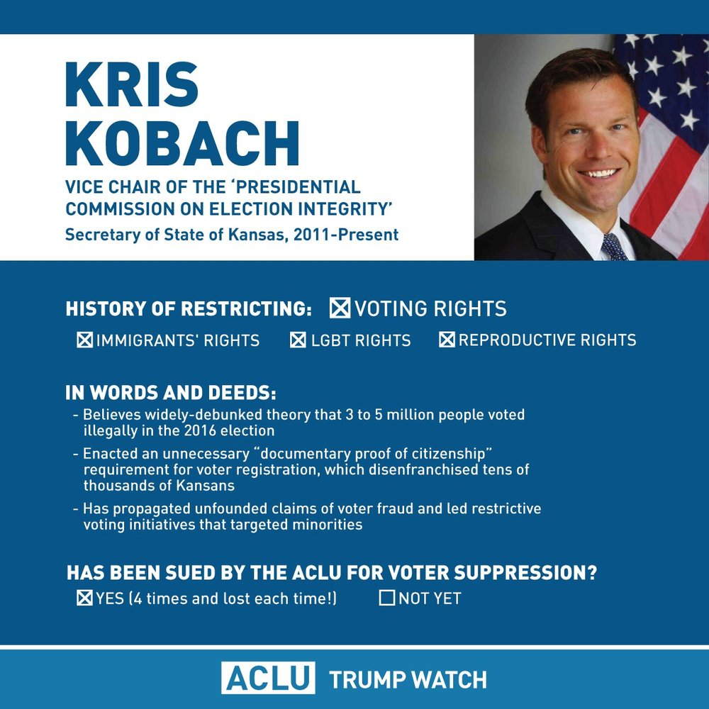 Read our primer on Kobach's efforts to take away your vote.