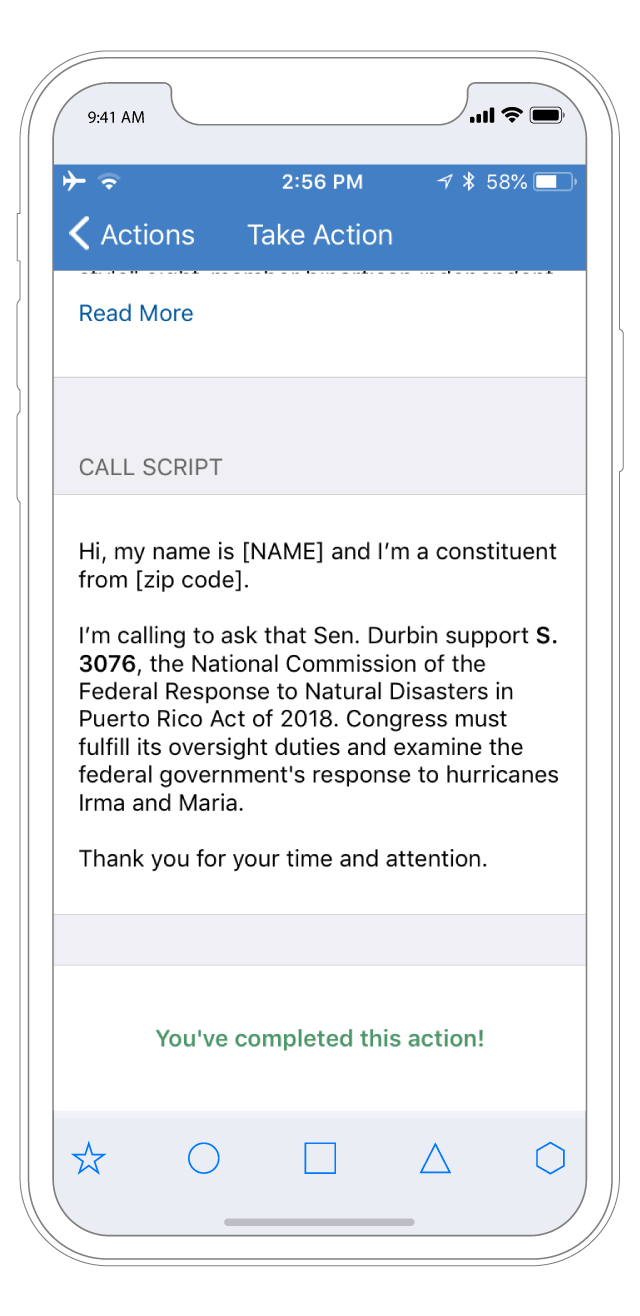 Personalized calling scripts.  Short, meaningful scripts with specific bill names and the name of your representative make it quick and easy to act.
