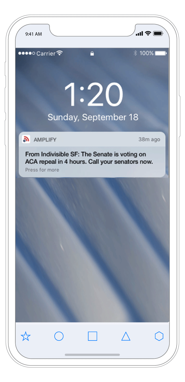 Alerts for Urgent Action . When an emergency call to action goes out, we'll send an alert to your phone (so you don't miss the next O'Hare protest).