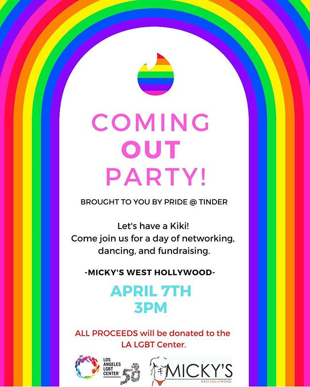 Hi everyone! Employees at @tinder are hosting a Coming Out Party this Sunday in West Hollywood! Check out the flyer!  If you have some time Sunday, we would love for you to stop by! It's going to be an amazing time.  If you have any questions please contact @iamchristianjon for more details!  #tinder #swipelife #apps #tech #lgbt #lgbtq #party #losangeles #hollywood #gay #bi #queer #lesbian #trans #weho #tinder