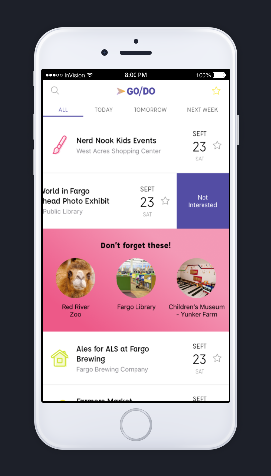 Main Screen - The Event Listing screen is the very first interactive page of the Go/Do app. We've kept it simple by minimizing photos and staying focused on the important details you'll need, in order to decide if you're interested.