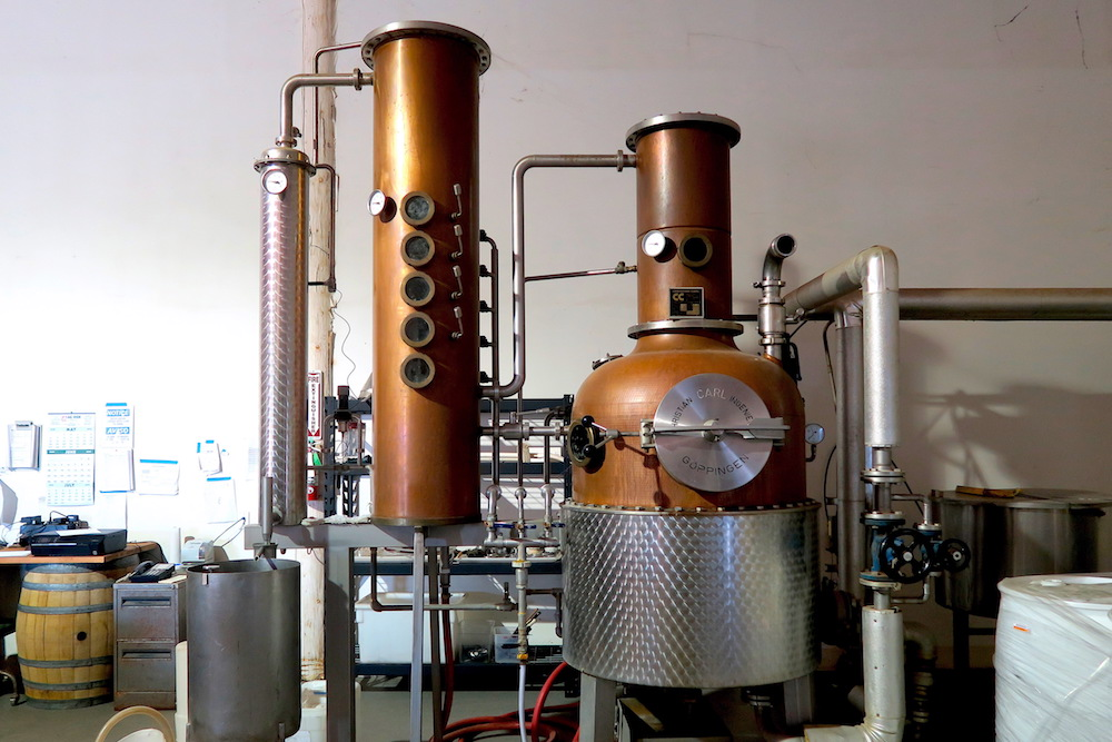 Modern hybrid pot still at Marian Farms.