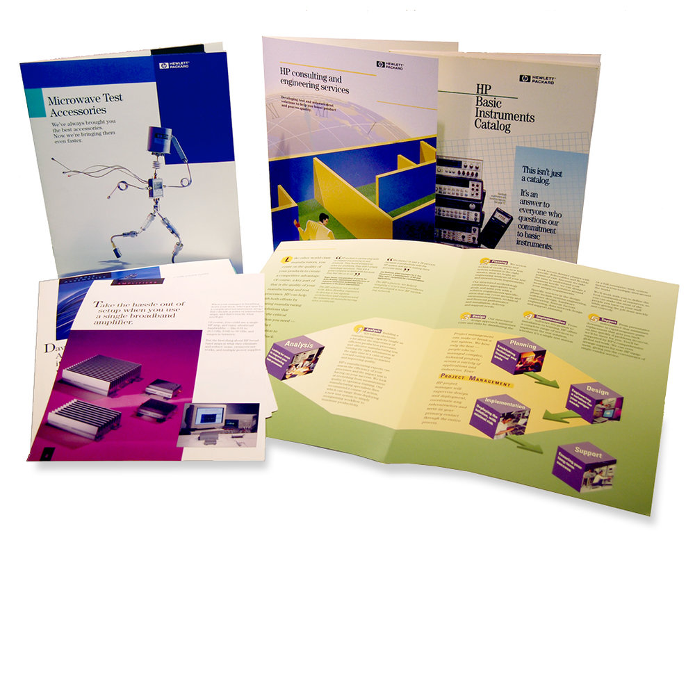 Hewlett Packard Product brochure; Consulting Services brochure showing their project management process; an Instrument Ordering catalogue