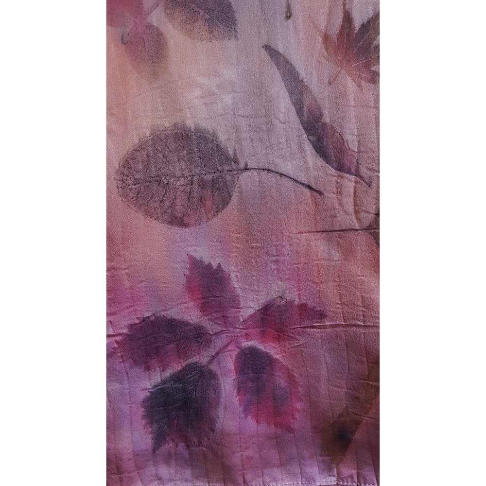 leaves on cochineal background, silk charmeuse