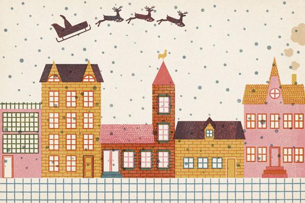 Tendr Barbara Dziadosz Santa Reindeer Card