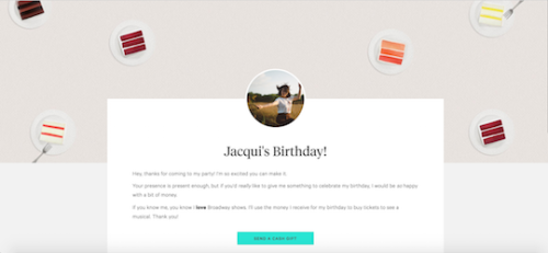 You can make a beautiful Occasion page like this one on Tendr!