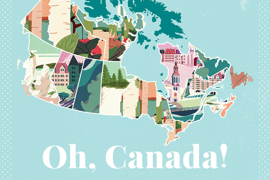 The title image from the 'Oh Canada!' series by Jeannie Phan for Canadian Living.