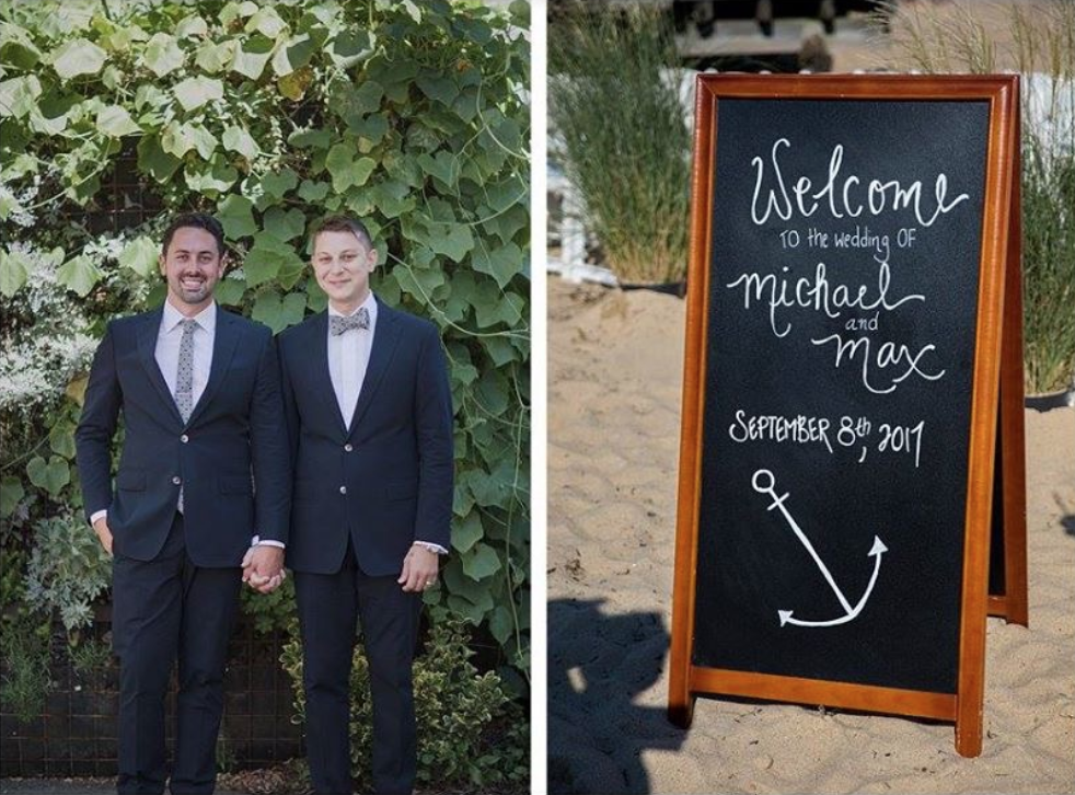 Michael (left) and Max (right) on their wedding day in Provincetown. Photo:  Organic Photography Cape Cod .