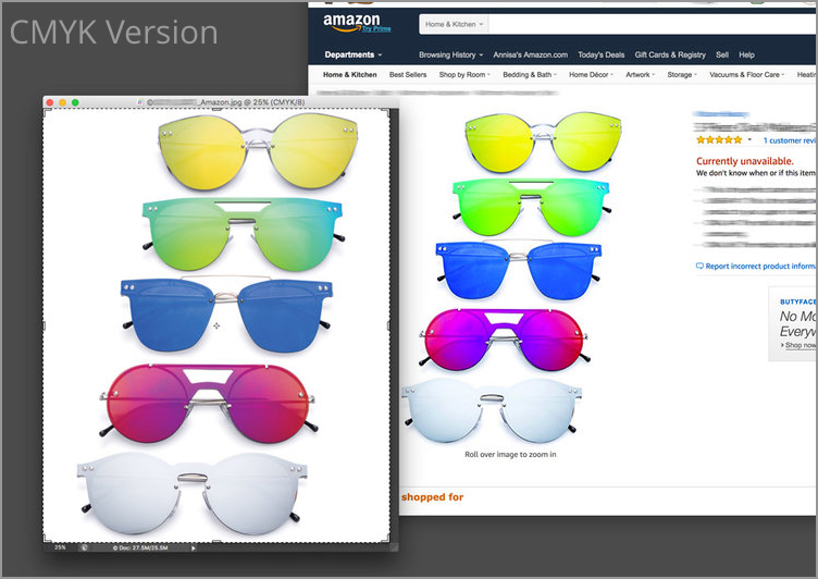 On the left is the CMYK version open in Photoshop. On The Right is Amazon's rendering of the same image. You can see the colors are way off.