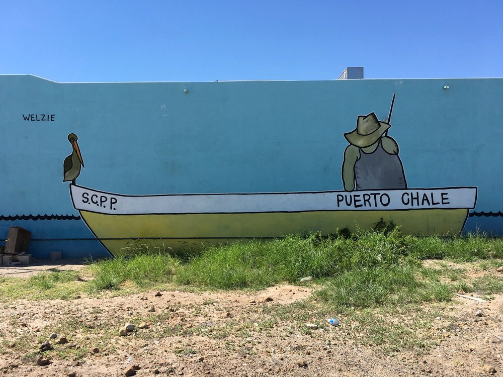 This mural here was painted in San Juanico, Baja Mexico, on the Local Fishing Co Op: Puerto Chale. When this was painted the town had fishing moritoriums that prevented the fisherman from fishing while the fish repopulated. The entire town was out of fish so this was our little tribute to the fishermen sticking it out through a slow year. Below is an original piece painted inspired from that trip.