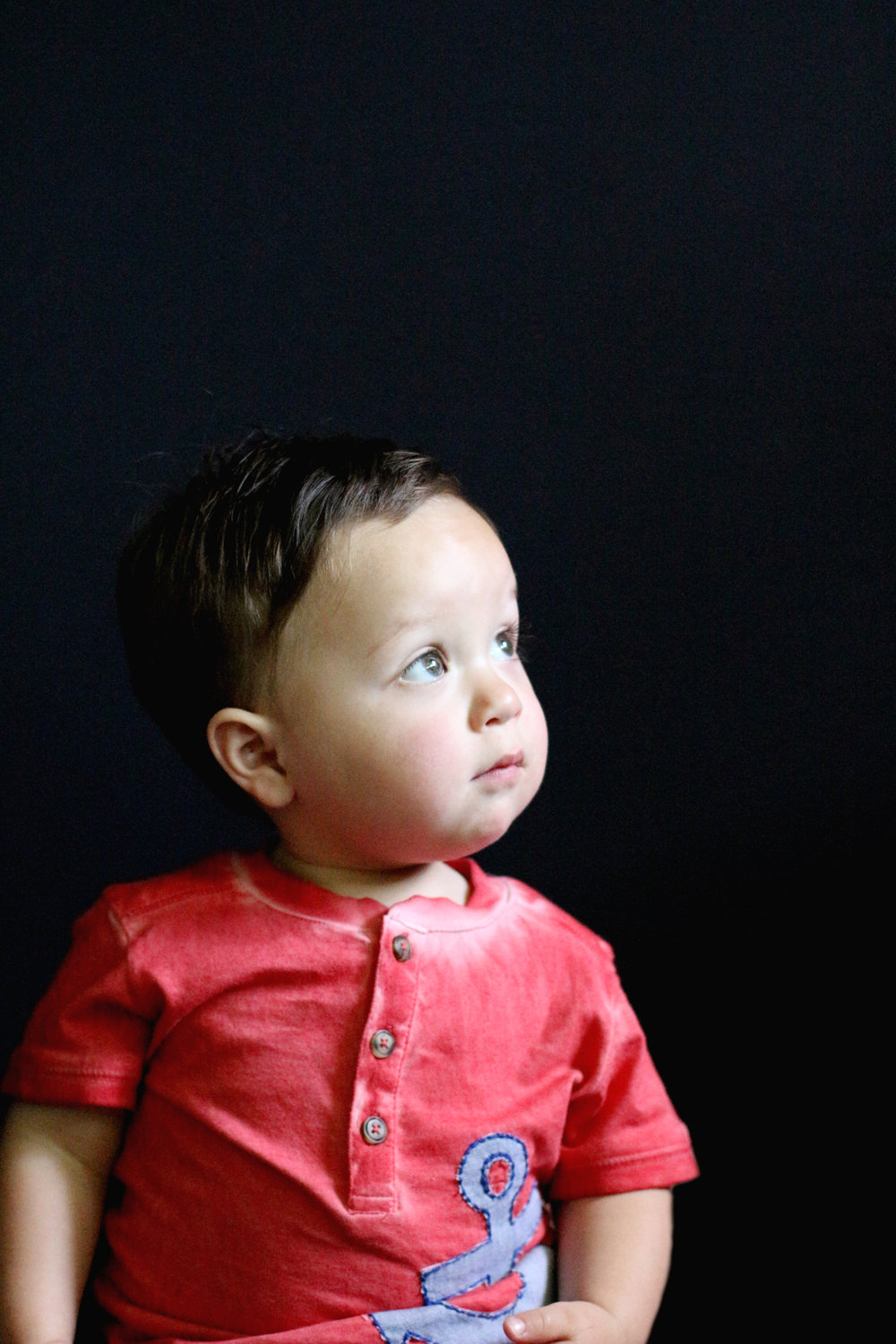 baby in red shirt seattle portrait Heather Barradas photography fine art