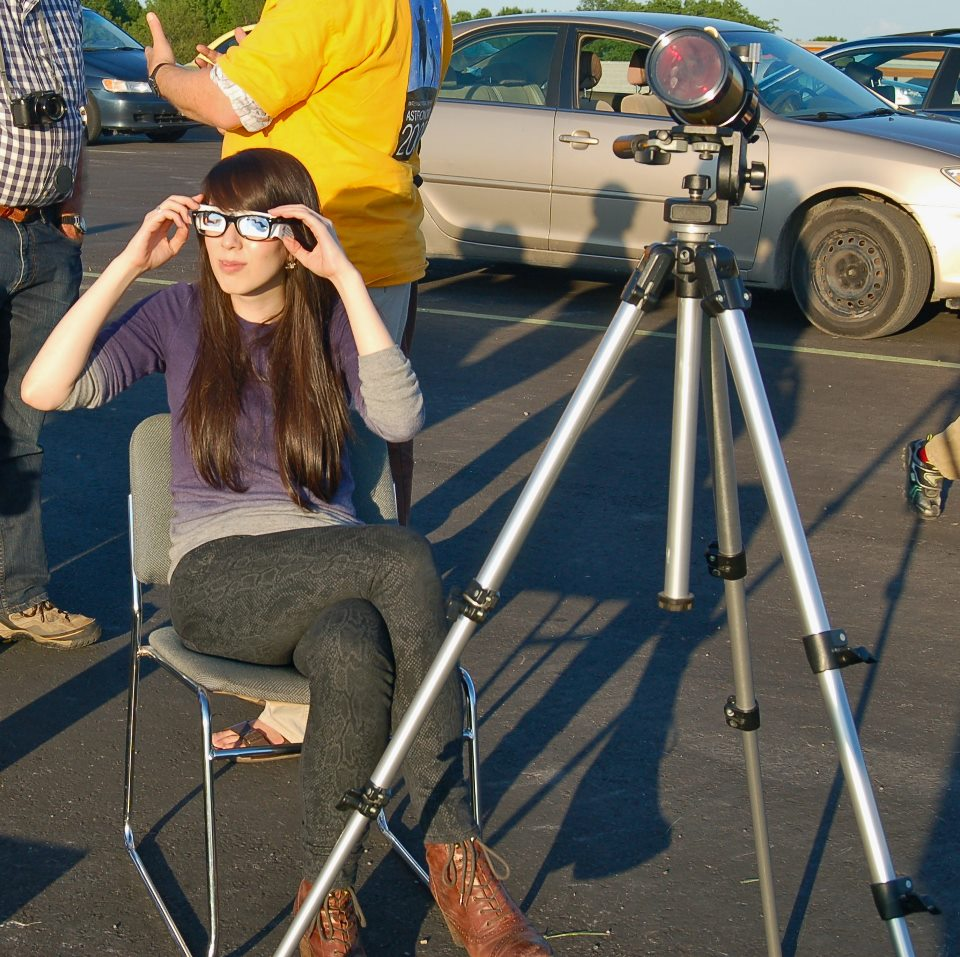Double-glassing it during the Venus Transit of June 2012. Photo credit: Siobhain Broekhoven.
