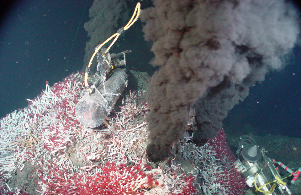 """Black  smokers "", hydrothermal vents on the ocean floor emitting black smoke rich with chemicals and particles that feed the bacteria forming the basis of a surprisingly diverse ecosystem. Image credit:  NOAA ."