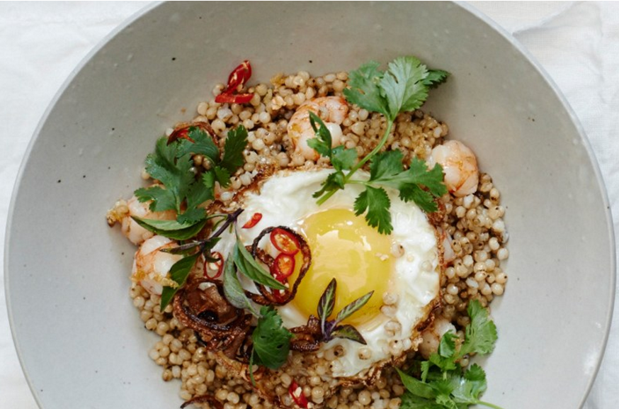 This recipe for Stir Fried Grains with Shrimp and Eggs contains toasted sesame oil and is incredibly healthy and quick to make.