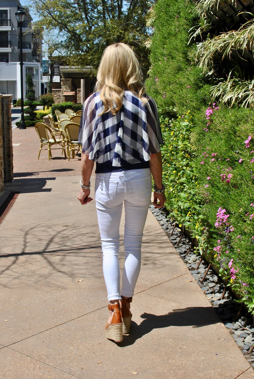 Anthropologie plaid top ( similar ),  white AG jeans ,  Chloe espadrilles