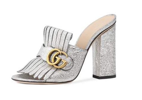 Gucci Silver Marmont Mules