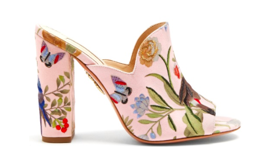 Aquazzura for De Gournay Embroidered Mule