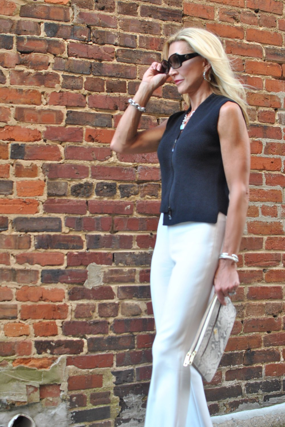 Trina Turk Pants, Worth New York Knit top, Ann Taylor Bag